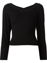 Donna Karan V Back Boat Neck T Shirt Black