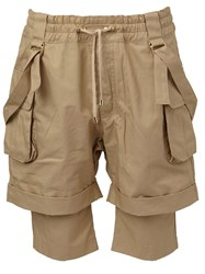 Balmain Layered Cargo Shorts Nude And Neutrals