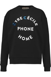Etre Cecile Ec Phone Home Printed Cotton Sweatshirt Black