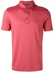 Michael Kors Chest Embroidery Polo Shirt Men Cotton M Red