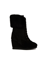 Love From Australia Leather Wedge Nova Boots Black