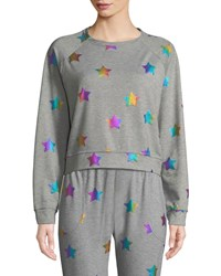 Terez Star Foil Printed Crewneck Sweatshirt Gray Pattern