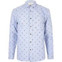 River Island Mens Light Blue Hymn Christmas Print Shirt