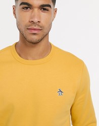 Original Penguin Icon Logo Crew Neck Sweatshirt In Yellow
