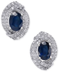 Macy's Sapphire 2 Ct. T.W. And Diamond 5 8 Ct. T.W. Stud Earrings In 14K White Gold Blue