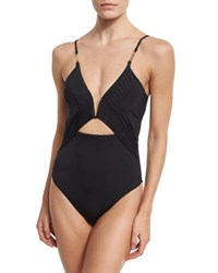 Nanette Lepore Origami Pleats Goddess One Piece Swimsuit Black