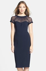 Petite Women's Maggy London Illusion Yoke Crepe Sheath Dress Black