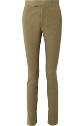 Helmut Lang Stretch Cotton Twill Skinny Pants Army Green