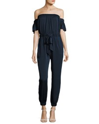 Milly Maxime Off The Shoulder Stretch Silk Jumpsuit Navy