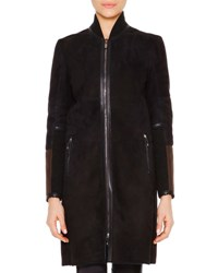 Callens Leather Trimmed Shearling Fur Bomber Jacket Navy