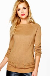 Boohoo Caroline Raglan Sleeve Jumper With Mock Pocket Zippers Camel