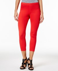 Hue Women's Original Denim Capri Leggings A Macy's Exclusive Red Alert