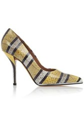 Givenchy Striped Print Pumps In Yellow Grey And Black Watersnake Yellow