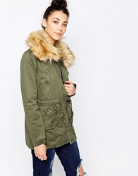 Glamorous Parka With Faux Fur Hood Khaki Green
