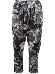 Zucca Cropped Printed Trousers Grey