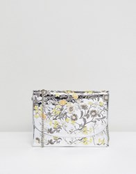 New Look Embroidered Mirror Metallic Clutch Bag Silver