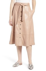 Halogen Button Front Leather Midi Skirt Pink