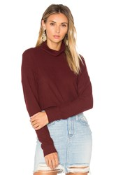 Project Social T Mia Mock Neck Top Burgundy