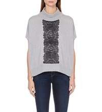 Karen Millen Turtleneck Lace Detail Wool Poncho Grey