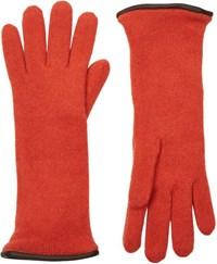 Barneys New York Double Knit Gloves Orange