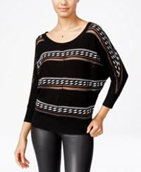 Xoxo Juniors' Striped Button Back Sweater Black