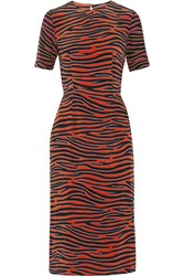 House Of Holland Zebra Print Silk Crepe De Chine Midi Dress