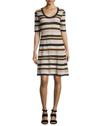 M Missoni Half Sleeve Lace Ribbon Fit And Flare Dress Pink