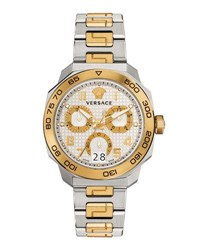 Versace 44Mm Men's Dylos Two Tone Chronograph Watch Multi