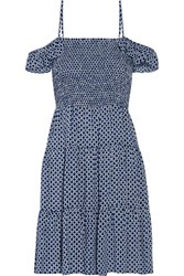 Tory Burch Cabarita Cutout Smocked Voile Dress Blue