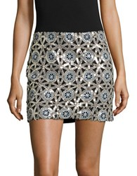 Design Lab Lord And Taylor Medallion Sequin Mini Skirt Silver
