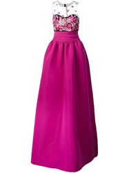 Marchesa Notte Embroidered Top Gown Pink And Purple