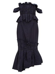 Brock Collection Piermaria Ruched Chambray Dress Navy