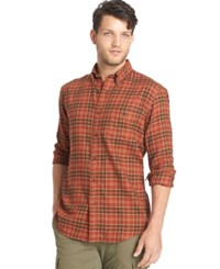 G.H. Bass And Co. Big And Tall Black Fireside Flannel Plaid Long Sleeve Shirt Saffron Spice