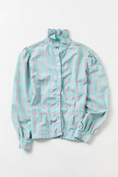 Urban Renewal Vintage A 90S Frilled Neck Plaid Button Down Shirt Assorted