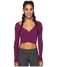 Alo Yoga Amelia Long Sleeve Crop Top Juneberry Women's Clothing Pink