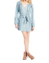 Jessica Simpson Loose Fit Embroidered Shirtdress Blue