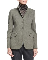 Loro Piana Mini Houndstooth Cashmere Blend Jacket Women's Brushwood Melange
