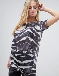 Religion Knot Tie Front T Shirt Dress In Zebra Print Grey Washed Black