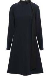 Mikael Aghal Woman Tie Neck Stretch Crepe Dress Navy