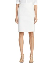 Ralph Lauren Button Vent Pencil Skirt Ivory