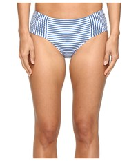Seafolly Riviera Stripe Ruched Side Retro Bottoms French Blue Marle Women's Swimwear