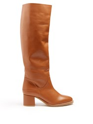 Gabriela Hearst Forti Leather Knee High Boots Tan