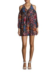 Romeo And Juliet Couture Floral Printed Cold Shoulder Dress Berry