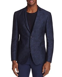 John Varvatos Star Usa Luxe Chambray Floral Print Slim Fit Sport Coat Blue