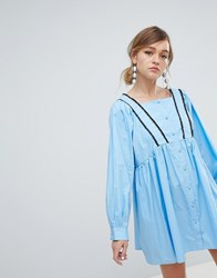Sister Jane Babydoll Dress With Button Front And Cross Back Detail Blue