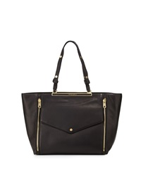 Cynthia Rowley Sasha Double Zip Leather Tote Bag Black