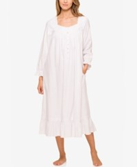 Eileen West Ruffled Ballet Length Flannel Nightgown White