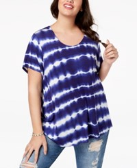 Eyeshadow Trendy Plus Size Tie Dyed T Shirt Blue Combo