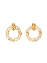 Chanel Vintage Logo Hoop Clip On Earrings Yellow And Orange