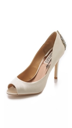 Badgley Mischka Madina Peep Toe Jeweled Pumps Ivory